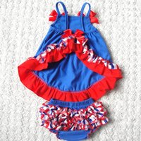 baby swing red - Blue with a red bow Baby Romper Outfit Baby Girl Swing Set Lace Baby Romper sleeveless T shirt Bloomers set Baby Dress Swing Top