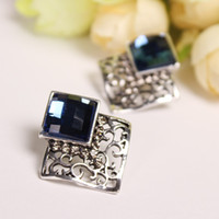 antique tin frames - Retro Vintage Filigree Dark Blue Square Stud Earrings Silver Hollow Frame Faceted Crystal Stone Deco Women Antique Earrings