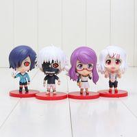 Wholesale 4pcs set Tokyo Ghoul Shuu Tsukiyama Kaneki Ken Kirishima Figurine From Comic Anime Cute PVC Figure Toys New Box approx cm