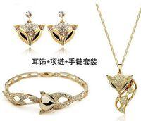 Crystal, Rhinestone benefit gift set - Fashion flash diamond charm fox head earrings necklace bracelet set souvenir wedding employee benefits necessary accessories for girls an