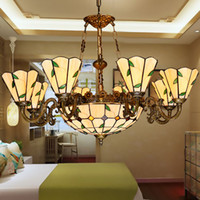 Wholesale Tiffany chandeliers leaf brief colours glass pendant lamps romantic dining room lights hand made lampshade living room lighting hot sale