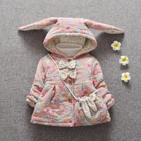 Wholesale children winter outwear infant baby girl winter hooded coats girl A large winter covered with thick printed coat infant baby cotoon coat