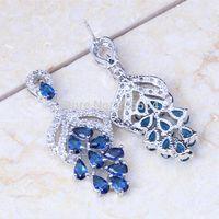 Wholesale Beat Gift AAA Quality Royal Blue Cubic Zirconia k Gold Fashion Drop Earrings E209 Drop Earrings