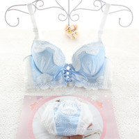 Wholesale Super Cute Bras - Japanese cute young girls sexy underwear set lace small women bra sets belt push up super gather bra and brief ladies intimate