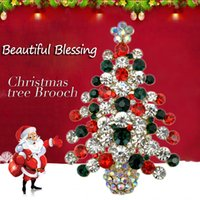 Wholesale Korean Clip Brooches - 2016 Hot Christmas Tree Brooch Safety Diamond Brooches Pins Korean Fashion Jewelry Pins Wholesale Women Dress Hat Scarf Accessories Clip