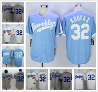Wholesale 1955 LA Los Angeles Dodgers Sandy Koufax Jersey Throwback White Gray Brooklyn Dodgers Sandy Koufax Baseball Jersey Blue