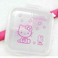 Wholesale New Square Hello Kitty double Layer Mini Plastic Portable Pill Box Case Cartoon Container Jewelry Storage Organizer Holder for Kids Adults