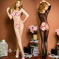 Wholesale Hot Sexy Pantyhose Bodystocking See Through Costume Strapless Bodysuit Open Crotch Body Stockings Erotic Lingerie