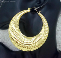 bamboo hoop earings - Hip Hop K Yellow Gold Plated Large Big Round Bamboo Hoop Earrings for Women Earings Fine Fashion Jewelry Brinco Hoops Earring