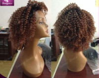Wholesale Short Afro Curl Wig - Unprocessed brazilian hair kinky curl front lace wig full lace wig natural hairline glueless ombre bob human hair wig for black women