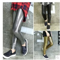 Wholesale Spring child faux leather pants girl kids elastic PU legging children black skinny pants trousers