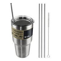 Wholesale YETI Cups Drinking Straw Beer Juice Straws Stainless Steel Travel Mugs Metal Sucker Straws Cleaning Brush For Yeti Cups