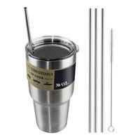 beer drinking mugs - YETI Cups Drinking Straw Beer Juice Straws Stainless Steel Travel Mugs Metal Sucker Straws Cleaning Brush For Yeti Cups