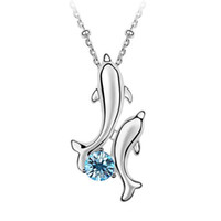 alloy elements - Clavicle Short Paragraph Women Crystal Pendants Necklace Dolphin Fashion Jewelry made with Swarovski Elements White Gold Plated