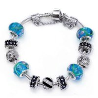 Cheap European Style 925 Spacer Silver Crystal Charm Bracelet for Women With Blue Murano Glass Beads DIY Jewelry Making ps3039