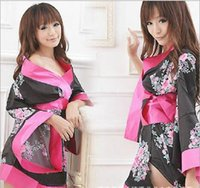 Wholesale 2016 new Hot Japanese Floral Print Deep V Neck Sexy Babydoll Lingerie Kimono Night Dress