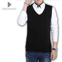 Wholesale XXXL Mens Turtleneck Autumn Winter Cashmere Classic Vests Sweater Men Sleeveless Sweaters Solid Color V Neck Wool Pullover Men