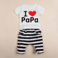 Cheap I Love Papa Mama Kids Clothes Girls Boys 2016 Baby Clothing Kids Sets 2PCS Outfits Short Sleeve Top+Pants Striped Newborn Infant Clothing