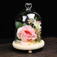 Wholesale High quality party delicate glass display case preserved flower vase birthday Chrismas gift with glass dome No S