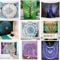 Wholesale Wall Decorative Hanging Tapestries Indian Mandala Style Bedspread Ethnic Throw Art floral Towel Beach Meditation Yoga Mat Art Blanket