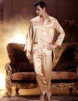 Wholesale Gold Men Pajama Sets Long Sleeve Emulation Silk Pijamas Button Silk Satin Male Sleepwear Casual Turn Down Collar Homewear