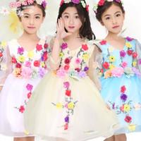 Wholesale 2016 spring flower girl dresses tutu dress wedding birthday party communion dress skirt kids prom dresses for pricecess lace dress