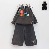 baggy sweater dress - Girl Dress Child Clothes Kids Clothing Autumn Flower Crochet Sweater Kid Baggy Trousers Children Set Kids Suit Outfits Lovekiss C27123