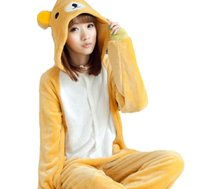 Wholesale 2016 Unisex Animal Jumpsuit Pyjamas Cartoon Pajamas Cosplay Kigurumi Onesie Bear Flannel Homewear Nightwear Loungewear K77L