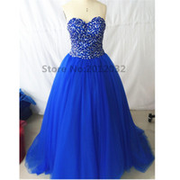 Wholesale Real Picture Quinceanera Dresses Ball Gown Sweetheart Beaded Sweep Train Quinceanera Gowns Blue Plus Size Prom Masquerade