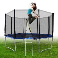 Wholesale 4 legs Round Trampoline Set New For ages and up With Ladder Frame Blue safety Pad Netting