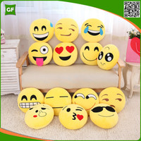 Wholesale Cute Yellow Creative Emoji Cushion Round Soft Comfortable Short Plush Home Decorative Pillow Case Chair Smiley Plush Toys Hot Selling