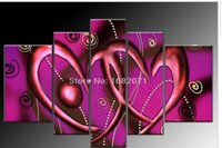 abstract heart paintings - China Shenzhen Professional Factory Low Price High Quality Abstract Group Oil Paintings Double Heart Canvas Oil