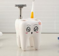 bathroom accessories shelf - Cartoon Toothbrush Holder Teeth Style Hole Stand Toothbrush Shelf Bathroom Accessories Sets Bracket Container For Bathroom WA0297