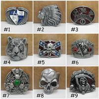 Wholesale 2016 Adult Mens Skull Crossbones Eagle Tiger Rebel Dixie Flag Metal Belt Buckle Western Decorative Belt Buckle Silver E874L