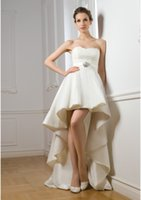 Wholesale 2016 High Low Wedding Dress with Long Train Ruched Vernassa Applique Strapless Bridal Gown Belt Ruched Vestidos De Casamento Feminino Modern