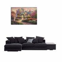 beautiful house painting - LK134 Thomas Kinkade Chateau Montrose Beautiful House Oil Paintings Reproduction Modern Landscape Giclee Canvas Prints Artwork Pictures O