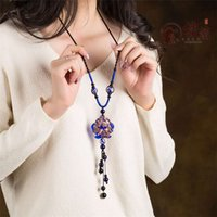acrylic double glazing - The women s doubles blue coloured glaze pendant sweater chain fish hang national wind necklace long Chinese wind