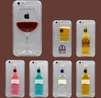apple chicken - red wine cup phone case for iphone s plus hard PC waterfall liquid cover case Chicken tail protector case GSZ192