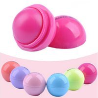 Wholesale 6pcs colors color New Round Ball Smooth Lip Balm Fruit Flavor Lip Care Smackers Organic Natural Lip Balm Makeup Set