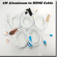Wholesale 2M High Speed Aluminum to HDMI HDTV AV Cable For iPhone S d Support HD1080P connection TV HDTV