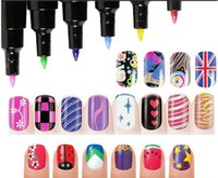 Wholesale New style D nail art colored drawing pen Dotting Pen multi purpose DIY color nail polish pencil