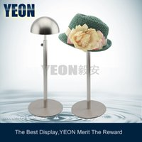 Wholesale YEON round base stainless steel matte hat display rack cap stand for sale bulk order available