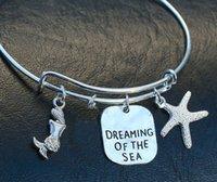 aqua bangles - 12pcs Dreaming of the Sea Stamped Charm Bangle Bracelet Genuine Aqua Sea Glass Adjustable silver tone