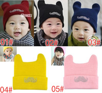Wholesale 2017 New Fashion Cartoon Solid Moustache Baby Infant Warm Beanies Children Knitting Hats Kids Winter Caps Earmuffs Skullies