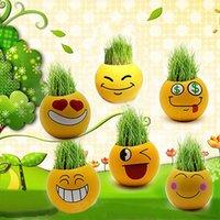 Wholesale Emoji Mini Plants Pots QQ Expression Magic Grass Planting Bonsai Green Plants Potted DIY Gift Home Decoration