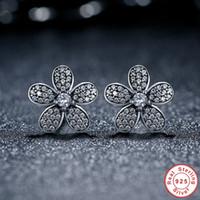 Wholesale Dazzling Daisy Earring Studs Sterling Silver Pandora Style Earrings for Women ER031