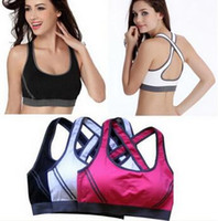 Wholesale 3pcs Sexy Woman Sportswear Fitness Running Clothes For Women Jogging Yoga Racerback Sports Bra Padded Underwear Tennis Vest Top freeshipping