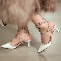 Cheap Sexy Hot Sale 2016 Female Dress Date T-Strap Stiletto High Heel Pumps Lady Woman Rivet Valentine Genuine Leather Shoes