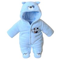 toonies 0-12M Boy Infant Newborn Rompers Winter Long Sleeve Coral Fleece Cartoon Bear Hooded Thick Kids Baby Girl Boy Jumpsuits One Piece Cute Animal Overall