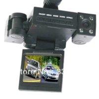 Enregistrement vidéo de haute qualité Avis-Haute qualité double lentille voiture véhicule vision nocturne vidéo DVR Cam caméra caméra avec support Expédition gratuite Drop Expédition